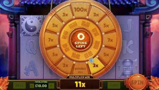 an 11x multiplier was awarded during the panda wheel bonus feature