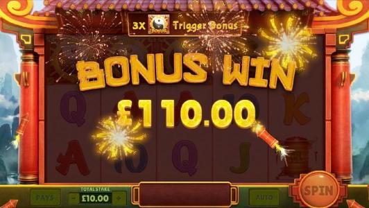 panda wheel bonus feature pays out $110