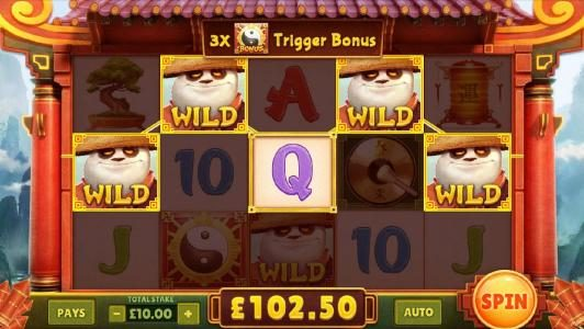 random wilds trigger another five of a kind for a $102 big win