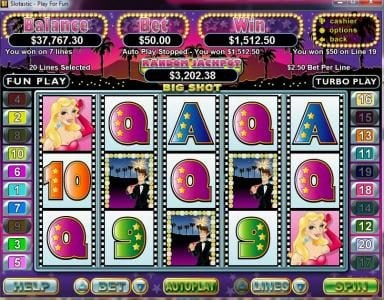 Play slots at 99 Slot Machines: 99 Slot Machines featuring the Video Slots Big Shot with a maximum payout of $250,000