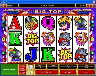 Casino Moons featuring the Video Slots Big Top with a maximum payout of $25,000