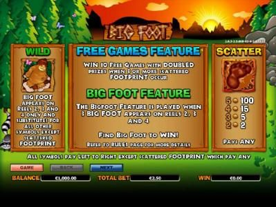 paytable and rules for the scatter, wild, big foot feature and free games feature