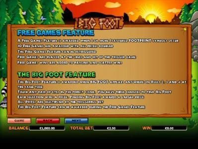 how to play the free games feature and the big foot feature
