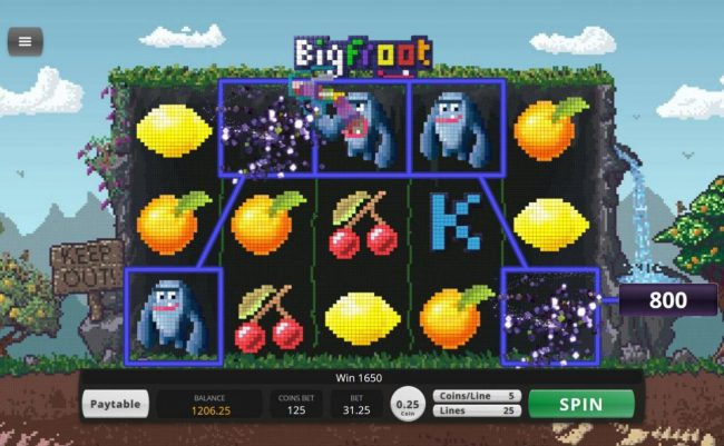 Platinum Reels featuring the Video Slots BigFroot with a maximum payout of $57,240