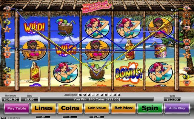 7Kasino featuring the Video Slots Bikini Beach with a maximum payout of $130,000