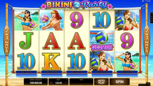 Slots Cafe featuring the Video Slots Bikini Party with a maximum payout of $120,000