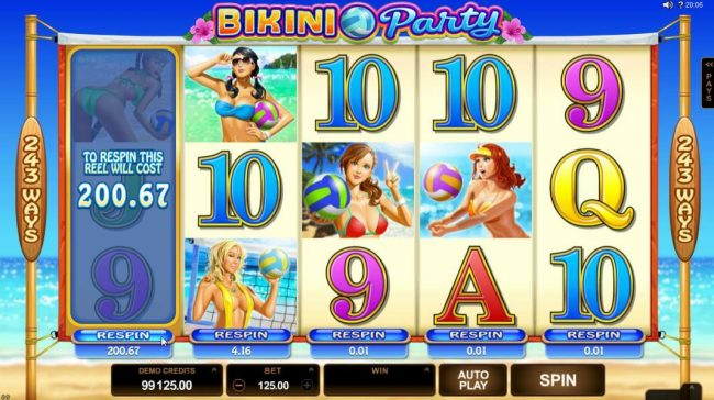 Nostalgia Casino featuring the Video Slots Bikini Party with a maximum payout of $120,000