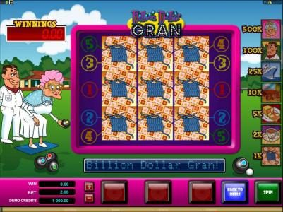 Jetbull featuring the Video Slots Billion Dollar Gran with a maximum payout of $20,000