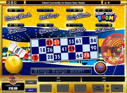 Music Hall featuring the Video Slots Bingo Bango Boom! with a maximum payout of $5,000