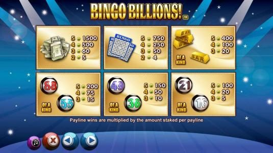Fruity Casa featuring the Video Slots Bingo Billions with a maximum payout of $10,000