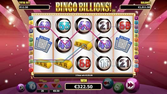 A 322.50 big win triggered multiple winning paylines during the free games bonus feature.