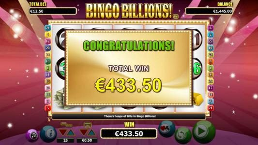 Come On featuring the Video Slots Bingo Billions with a maximum payout of $10,000