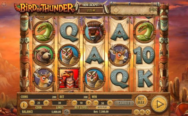Bird of Thunder :: Main game board featuring five reels and 30 paylines with a $2,500,000 max payout.