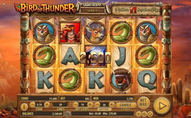 Bird of Thunder :: A winning Five of a Kind triggers a 2500 coin line pay out.