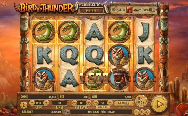 Play 24 Bet featuring the Video Slots Bird of Thunder with a maximum payout of $2,500,000