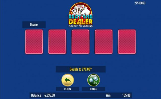 Bird of Thunder :: Beat The Dealer - Double or Nothing Gamble Feature Game Board - Select a card that is higher than the dealers for a chance to double your winnings.