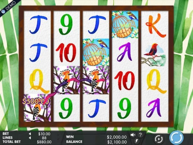 Zet Casino featuring the Video Slots Birds & Blooms with a maximum payout of $100,000