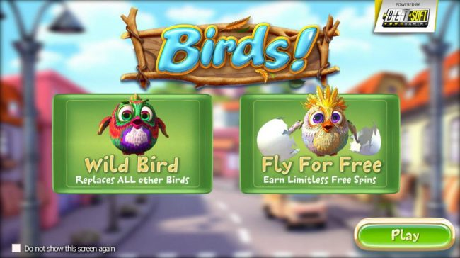 Wild Bird replaces all other birds. Fly for Free - Earn limitless Free Spins.