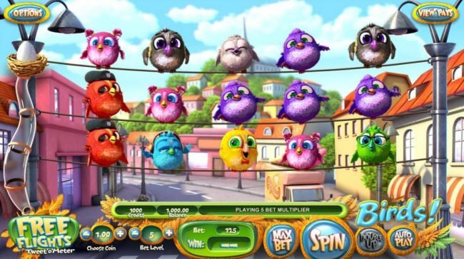 Slots Village featuring the Video Slots Birds! with a maximum payout of $500