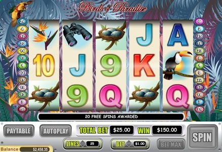 Play slots at Lincoln: Lincoln featuring the Video Slots Birds of Paradise with a maximum payout of $100,000