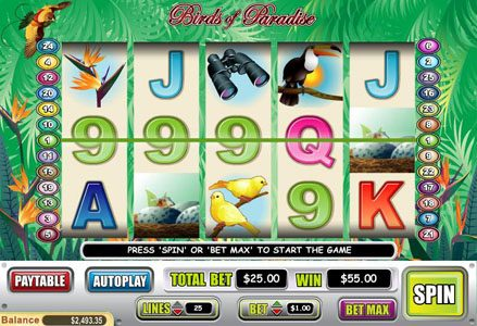 Liberty Slots featuring the Video Slots Birds of Paradise with a maximum payout of $100,000