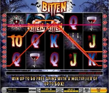 Sky Vegas featuring the Video Slots Bitten with a maximum payout of $25,000