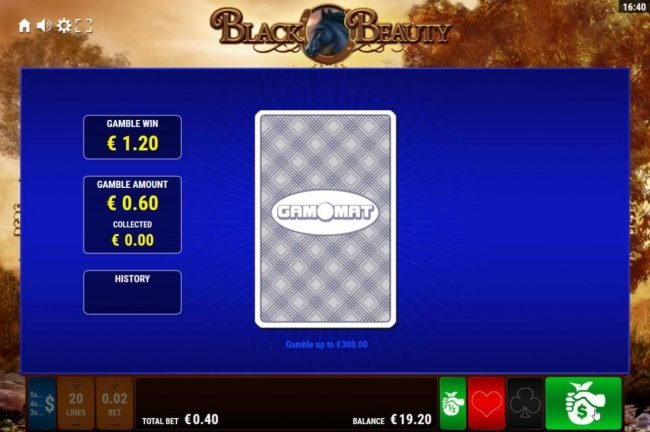 Black Beauty :: Gamble Feature - To gamble any win press Gamble then select Red or Black