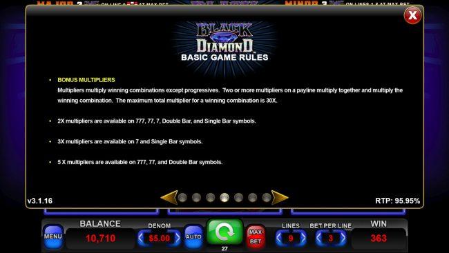 Black Diamond :: Multiplier Rules