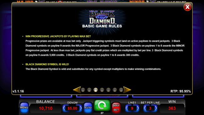 Black Diamond :: Progressive Jackpot Rules