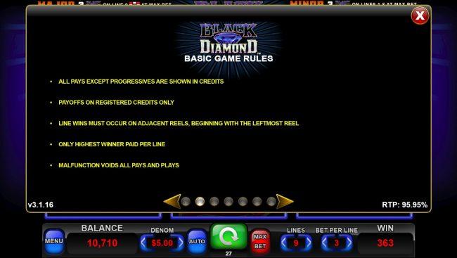 Black Diamond :: General Game Rules