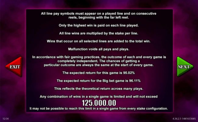 Black Magic Fruits :: The theoretical return to player (RTP) for this game is 95.02 to 96.11%. Any combination of wins in a single game is limited and will not exceed 125,000.