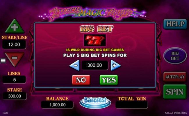 Black Magic Fruits :: Big Bet - Click the plus or minus button to adjust the bet level.