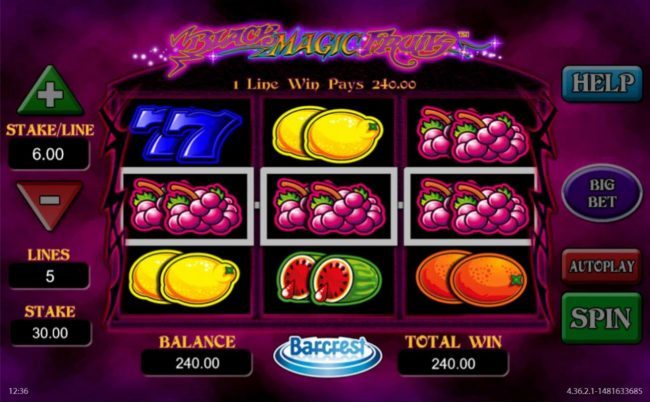 Black Magic Fruits :: A grapes three of a kind triggers a 240.00 big win.