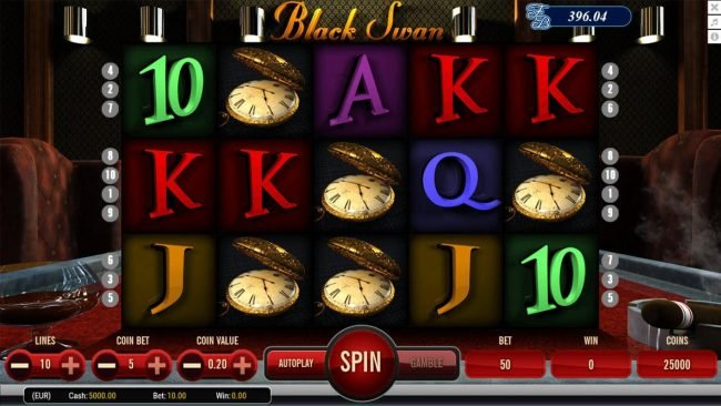Black Swan :: Main game board featuring five reels and 10 paylines with a $9,000 max payout.