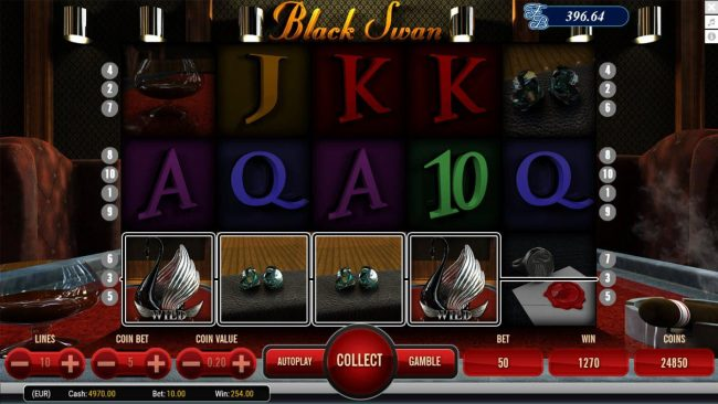 Black Swan :: A pair of win lines triggers a 1270 coin jackpot award