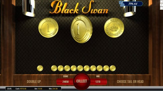 Black Swan :: Gamble Feature - To gamble any win press Gamble then select Heads or Tails.
