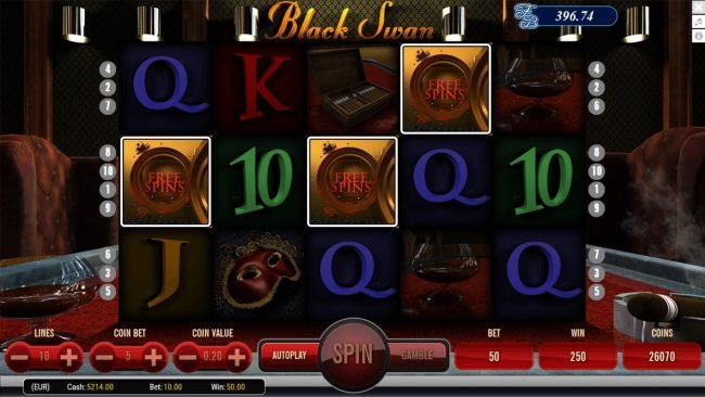 Black Swan :: Landing 3 safe scatter symbols anywhere on the reels activates the free spins feature