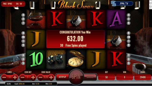 Black Swan :: Free Spins feature pays out a total of 632.00
