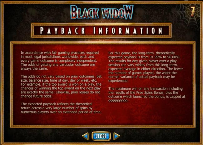 Play slots at Secret Slots: Secret Slots featuring the Video Slots Black Widow with a maximum payout of $20,000