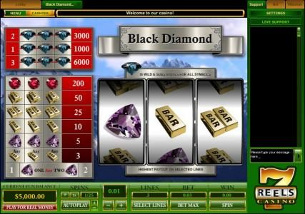 Casino Moons featuring the Video Slots Black Diamond 3 Lines with a maximum payout of $30,000