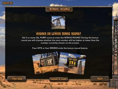 Black Gold :: higher or lower bonus round feature rules