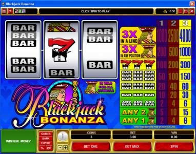 Play slots at Bet At Casino: Bet At Casino featuring the Video Slots Blackjack Bonanza with a maximum payout of $60,000