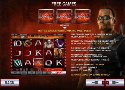 three or more blade symbols triggers 15 free games with dynamic multiplier