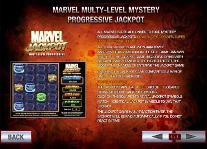 marvel multy-level mytery progressive jackpot. all four jackpots are won randomly