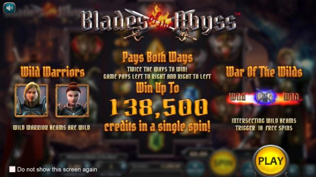 Play slots at Pokie Place: Pokie Place featuring the Video Slots Blades of the Abyss with a maximum payout of $138,500