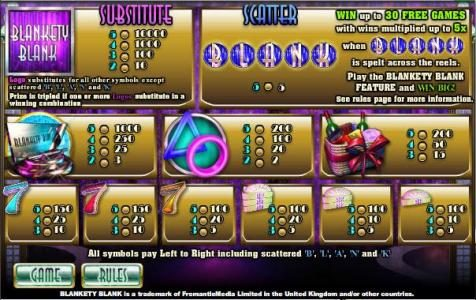 Sky Vegas featuring the Video Slots Blankety Blank with a maximum payout of $100,000