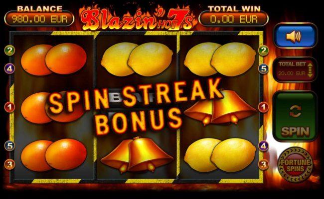 Spin Streak Bonus triggered