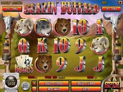 Tangiers featuring the Video Slots Blazin' Buffalo with a maximum payout of $7,500