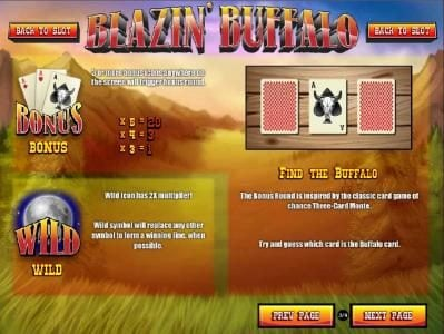 Winbig21 featuring the Video Slots Blazin' Buffalo with a maximum payout of $7,500