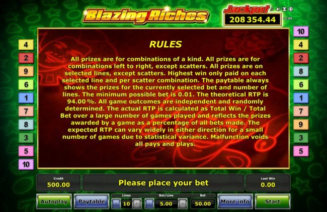 Pamper featuring the Video Slots Blazing Riches with a maximum payout of $50,000